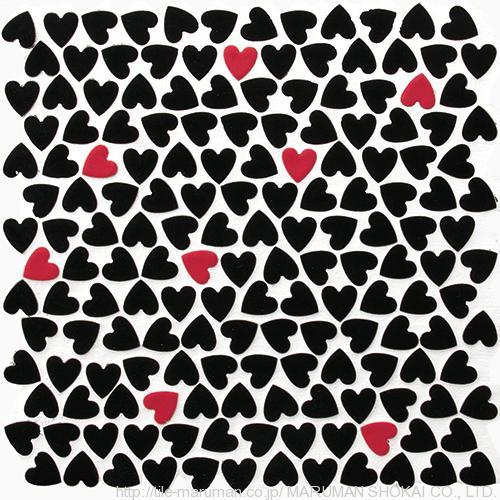 Heart Random Black 丸万商会 モザイクタイル