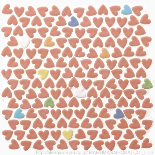 Heart Random Pink 丸万商会 モザイクタイル