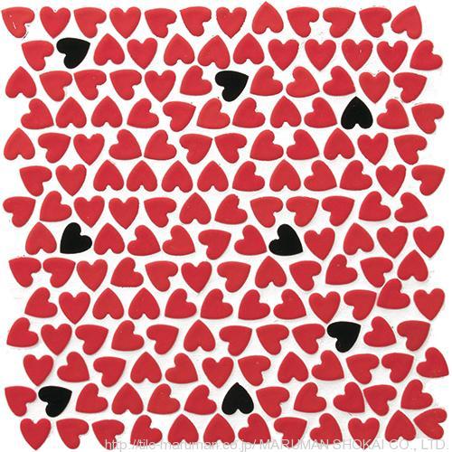 Heart Random Red 丸万商会 モザイクタイル
